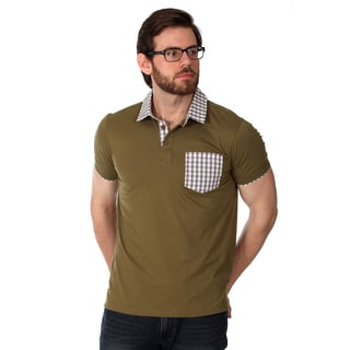 Filthy Etiquette Men's Olive and Gingham Solid Polo