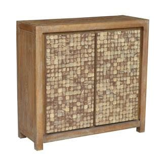 Decorative Brown Geometric Tahoe Teak Accent Table