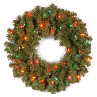 24-inch Kincaid Spruce Wreath with 50 Multi Lights