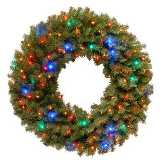 36-inch Norwood Fir Wreath with 100 Low Voltage Multi 4 Color LED Lights