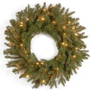 24-inch Feel-Real Tiffany Fir Wreath with 50 Clear Lights