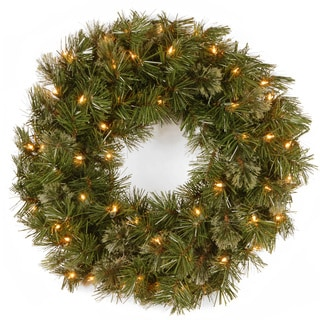 24-inch Wispy Willow Wreath with 50 Clear Lights