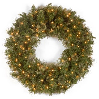 36-inch Wispy Willow Wreath with 100 Clear Lights