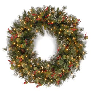 36-inch Wintry Pine Wreath with Cones, Red Berries, Snowflakes with 150 Clear Lights