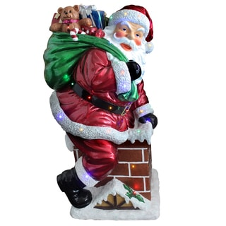 46-inch Indoor/ Outdoor Use Santa on Chimney with Metallic Painting Finish and 30 Multi LED Lights