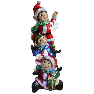 59-inch Stacking Elves Holding Snowflake with Glossy and Metallic Painting Finish/ 50 Multi LED