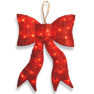 24-inch Red Wavy Sisal Bow with 35 Clear Indoor/ Outdoor Lights