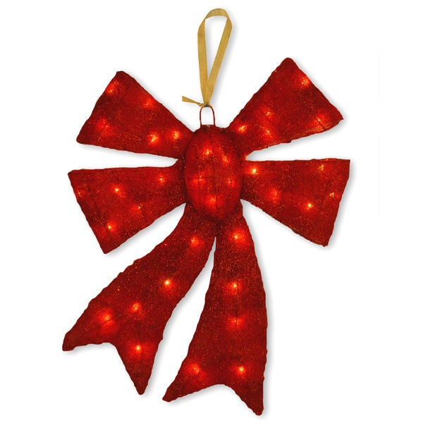 20-inch Red Sisal Bow with 35 Clear Outdoor Lights