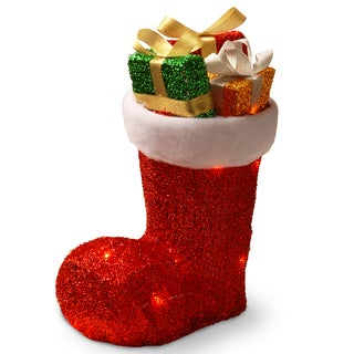 12-inch Fabric Tinsel Shoe with Gifts Inside and 10 Clear Lights