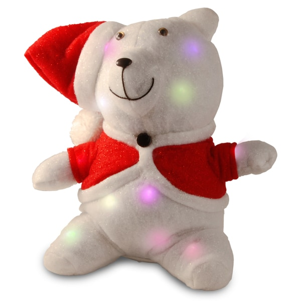 13-inch Cotton Red Bear with 13 Flashing LED Lights with Battery Box