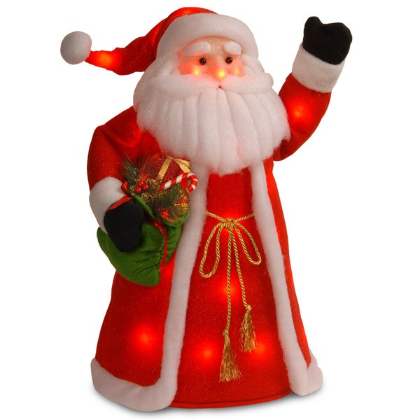 30-inch Red Cotton Standing Santa with Green Shirt/ Long Coat Holding Presents with Red Flashing Lights