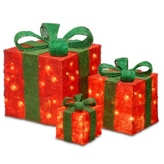 6-inch, 10-inch and 14-inch Assorted Red Sisal Gift Boxes with 20, 20 and 35 Clear Lights