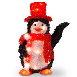 22-inch Tinsel Penguin with Candy Cane with 35 Clear Indoor/ Outdoor