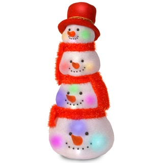 29-inch Snowman Head Tower with 20 Flashing LED Lights