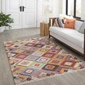 Tribal Elegance Hand-woven Multi-colored Small Diamonds Abstract Rug (8' x 10')