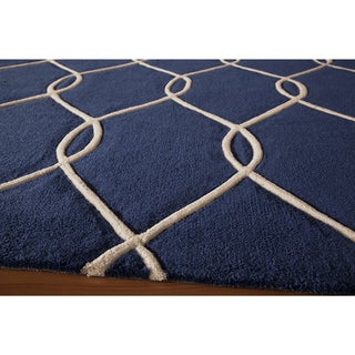 Hand-tufted Navy Nature Runner Rug (2'3 x 8')