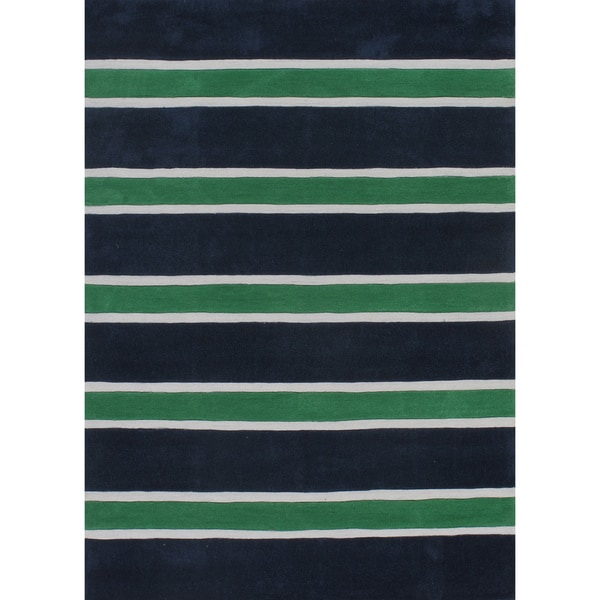 Rugby Stripe Green/Blue Hand-Tufted Rug (5' x 7')