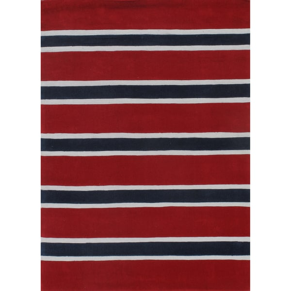 Rugby Stripe Red/Blue Hand-Tufted Rug (5' x 7')