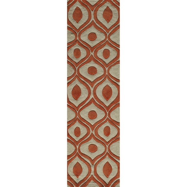 "Modern Waves Orange Hand-Tufted Rug (2'3"" x 8')"