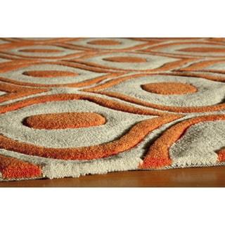 Hand-tufted Orange Nature Runner Rug (2'3 x 8')