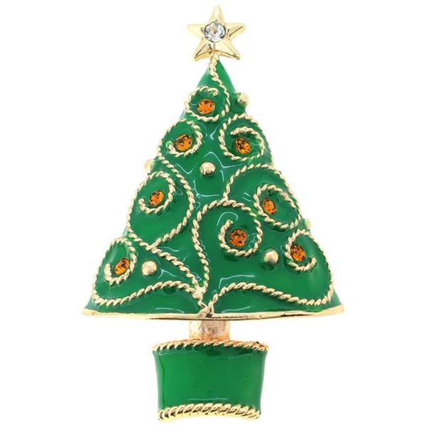 Cubic Zirconia Green Christmas Tree Brooch