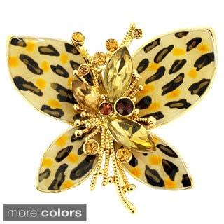 Cubic Zirconia Leopard Butterfly Pin Brooch
