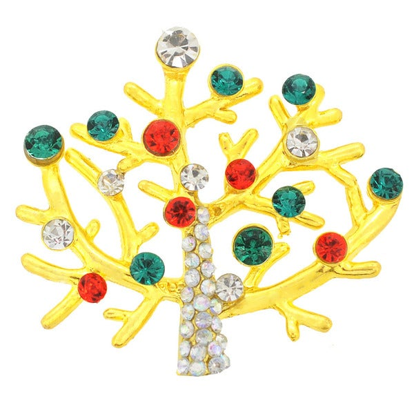 Cubic Zirconia Multi-color Christmas Tree Brooch