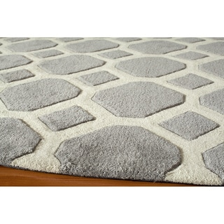 Hand-tufted Grey Beehive Nature Rug (2' x 3')