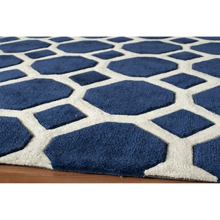 Hand-tufted Navy Beehive Nature Rug (2' x 3')