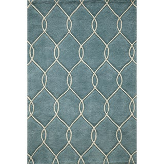 Hand-tufted Teal Nature Rug (4' x 6')