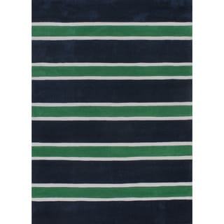 Hand-tufted Green/ Blue Stripe Rug (3'6 x 5'6)