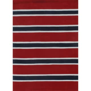 "Rugby Stripe Red/Blue Hand-Tufted Rug (3'6"" x 5'6"")"