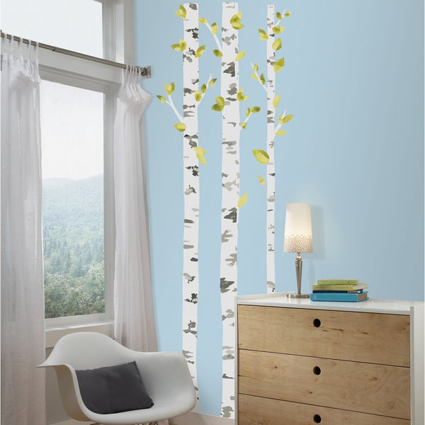 birch trees peel and stick giant wall decals 16789312. Black Bedroom Furniture Sets. Home Design Ideas