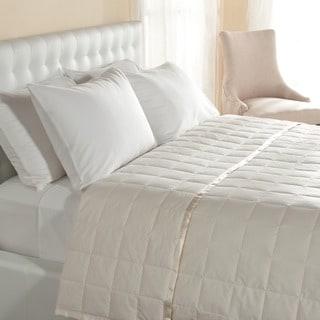 Cambric Cotton White Down Blanket with Satin Trim
