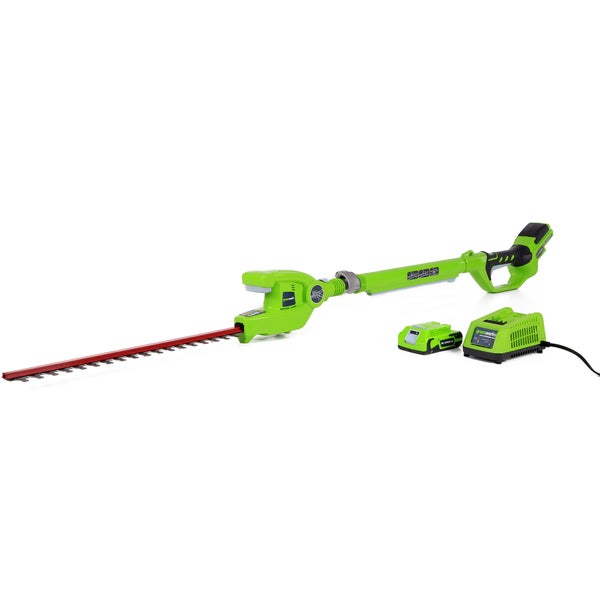 GreenWorks 22242 G-24 20-Inch Cordless Pole Hedge Trimmer, (1) 2Ah Battery and Charger Inc.