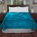 Lavish Home Soft Mink Aqua Blue Queen Size Blanket