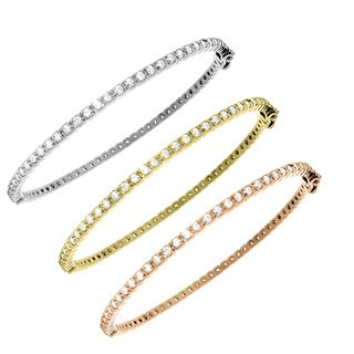 Gioelli Sterling Silver Cubic Zirconia Tennis Bangle Bracelet