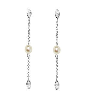 Gioelli Sterling Silver Pearl and Cubic Zirconia Linear Dangle Earring (5-7 mm)