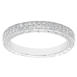 18k White Gold 1/5ct TDW Diamond Vintage Inspired Wedding Band (G-H, VS2-SI1)