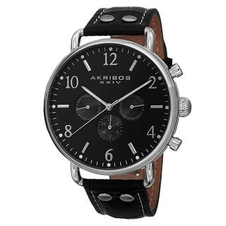 Akribos XXIV Men's Swiss Quartz Multifunction Genuine Leather Strap Watch