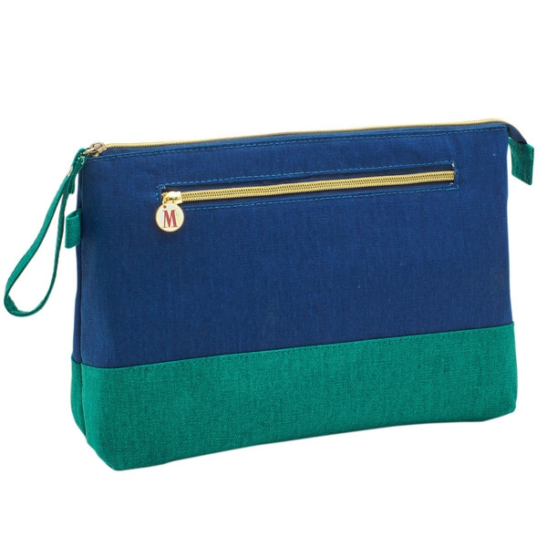 Isaac Mizrahi Large Navy Canvas Zippered Pouch