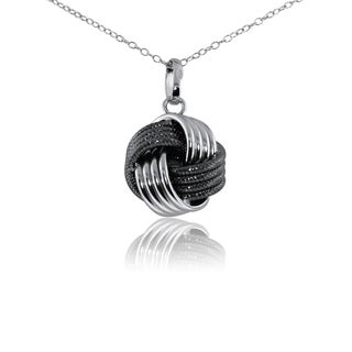 Gioelli Sterling Silver Classic Two-texture Love Knot Pendant Necklace