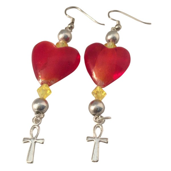 Diamonds by Sonja Handmade Heart and Ankh Earrings