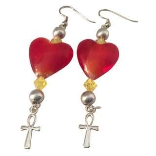 Diamonds by Sonja Handmade Heart and Ankh Earrings