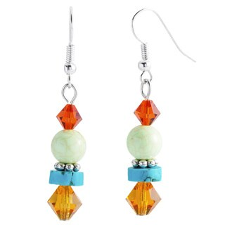 Kele & Co's Sterling Silver Beaded Turquoise and Crystal Dangle Earrings
