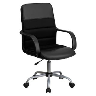 Offex Black Mesh/ Leather Mid-Back Swivel Chair