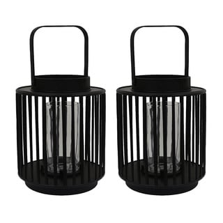 Black Bamboo Candle Holders (Set of 2)