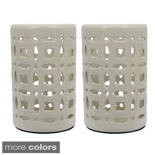 White Ceramic Lanterns (Set of 2)