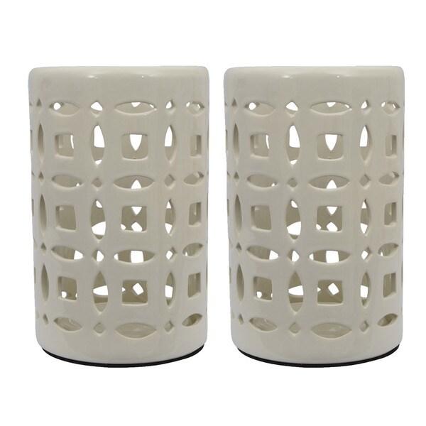 White Ceramic Lanterns (Set of 2)