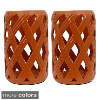 Criss-cross Pattern Ceramic Lanterns (Set of Two)